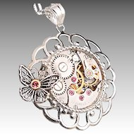 Silver Butterfly Necklace Sterling Silver Butterfly Steampunk Necklace