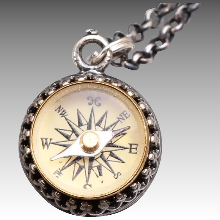 Silver compass necklace working compass necklace sterling silver silver compass necklace working compass necklace sterling silver compass necklace aloadofball Choice Image