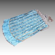 Flapper Long Fringe Vintage Blue And Silver Purse Vintage Beaded Purse