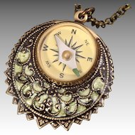 Yellow Filigree Necklace Working Compass Pendant Compass Necklace