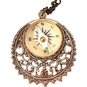 Filigree Necklace Compass Necklace Working Compass Necklace Compass Pendant