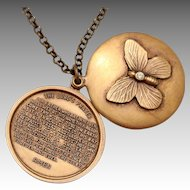Religious Pendant Necklace Religious Necklace Religious Locket Lords Prayer Necklace Butterfly Necklace