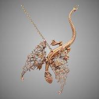Dragon Necklace Dragon Pendant Necklace Dragon Jewelry Dragon Wings