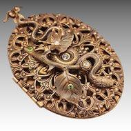Large Filigree Locket Snake Locket Necklace Picture Locket Compass Locket Compass Necklace