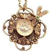 Dragonfly Necklace Compass Necklace Compass Pendant Necklace Compass Necklace Working