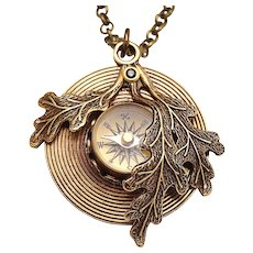 Compass Pendant Necklace Compass Necklace Working Compass Leaf Necklace