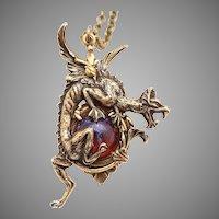 Dragon Necklace, Dragon Pendant, Dragons Breath Opal, Dragon Jewelry, Unisex Necklace