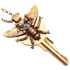 Insect Jewelry, Art Nouveau Style Necklace, Key Necklace, Vintage Key Necklace, Bug Necklace, Bee Necklace