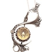 Sterling Silver Compass Necklace, Compass Necklace Sterling Silver, Sterling Silver Compass