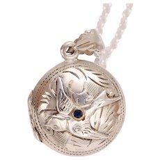 Sterling Silver Bird Locket Necklace, Sterling Silver Locket Pendant, Sterling Silver Compass Locket, Sterling Silver Photo Locket
