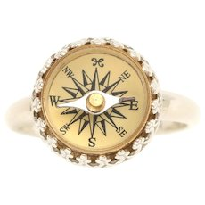 Sterling Silver Compass, Sterling Silver Ring, Sterling Silver Compass Ring