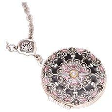 Photo Locket Necklace, Victorian Style Locket, Silver Locket Necklace, Locket Pendant Necklace