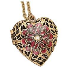 Heart Locket Necklace, Photo Locket Necklace Heart, Filigree Heart Locket Vintage, Compass Locket Necklace