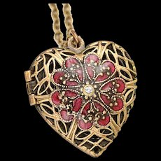 Heart Locket Necklace, Photo Locket Necklace Heart, Filigree Heart Locket Vintage, Compass Locket Necklace