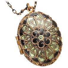 Filigree Locket Necklace Victorian Style Locket Necklace Compass Necklace Floral Locket Necklace