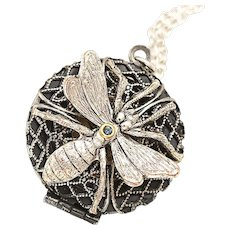 Filigree Locket Necklace, Compass Necklace, Bug, Insect Necklace, Insect Jewelry Art Nouveau Style