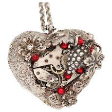 Fine Silver Necklace Heart Necklace Steampunk Heart Necklace Silver Heart Necklace