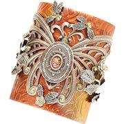 Art Nouveau Style Large Cuff Bracelet, Butterfly Cuff, Butterfly Bracelet, Statement Cuff