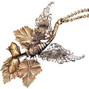Cicada Necklace, Cicada Wings, Acorn Necklace, Art Nouveau Style, Cicada Jewelry