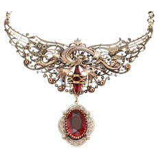 Large Dragon Necklace, Dragon Wings, Filigree Necklace, Ruby Red Crystal Necklace