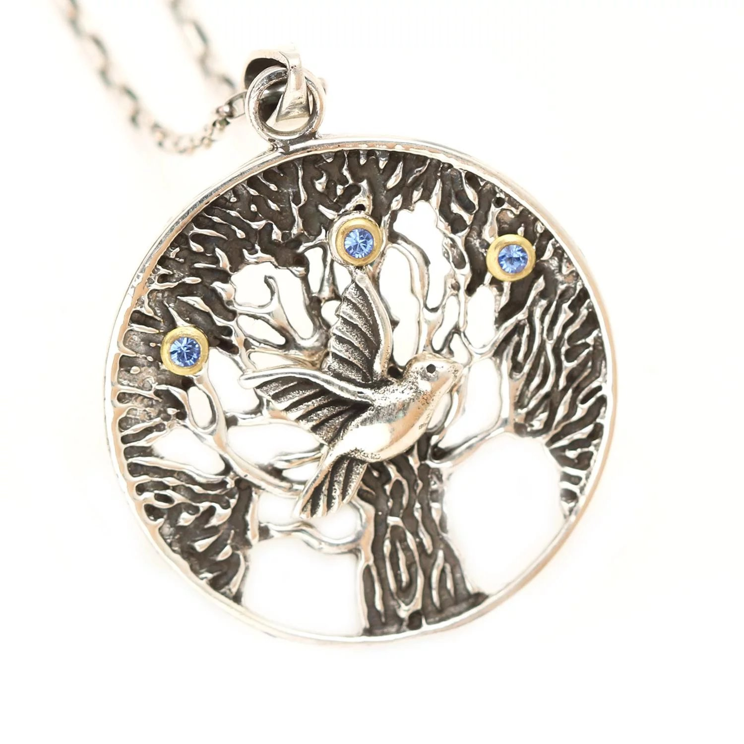 necklace yellow pendant tyche nyc plated product with family silver tree