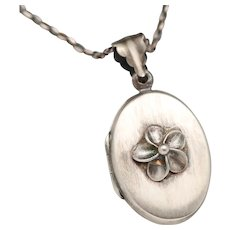 Sterling Silver Locket, Flower Locket Necklace, Sterling Silver Compass Necklace, Picture Locket Sterling Silver Necklace