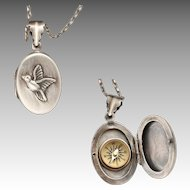 Sterling Silver Locket Necklace, Bird Necklace, Compass Necklace, Picture Locket, Photo Locket