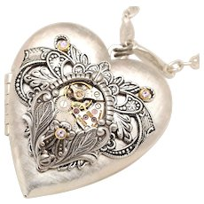 Steampunk Necklace, Silver Heart Necklace, Photo Locket Necklace, Steampunk Heart