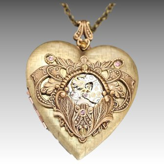Heart Necklace, Steampunk Necklace Victorian Style, Heart Locket, Locket Necklace, Photo