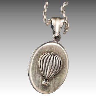 Sterling Silver Locket, Hot Air Balloon, Hot Air Balloon Necklace, Compass Necklace, Photo Locket, Picture Necklace