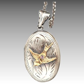 Bird Locket, Sterling Silver Bird Necklace, Compass Necklace, Sterling Silver Locket, Picture Locket, Photo Locket