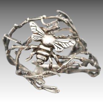 Sterling Silver Ring, Bee Ring, Honey Bee, Branch Ring, Twig Ring, Queen Bee, Silver Bee Ring