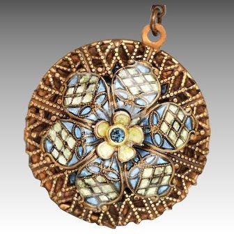 Flower Locket, Photo Locket, Flower Necklace, Compass Necklace, Picture Locket, Unique, Art Nouveau Style