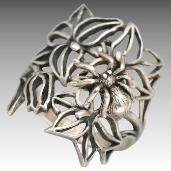 Sterling Silver Spider Ring, Sterling Silver Ring, Spider Ring, Flower Ring