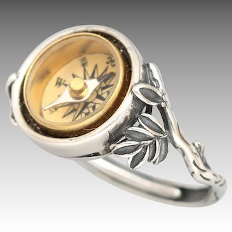 Sterling Silver Ring, Compass Ring, Silver Twig Ring, Working Compass