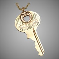Vintage Key Necklace, Steampunk Necklace, Master Key, Gold Key Necklace, Unisex Necklace, Key Necklace, Repurposed