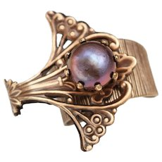 Pearl Ring, Purple Pearl Ring, Cocktail Ring, Art Nouveau Style Ring, Unique Ring