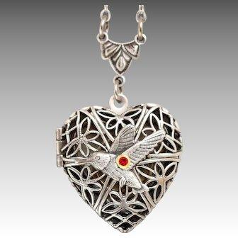 Hummingbird Necklace, Silver Locket Necklace, Filigree Locket, Compass Necklace