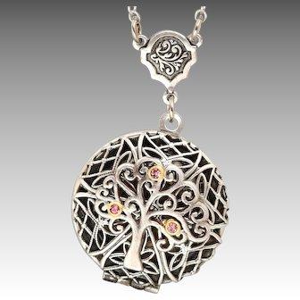 Filigree Locket Necklace, Compass Necklace, Silver Locket, Tree Of Life, Family Tree