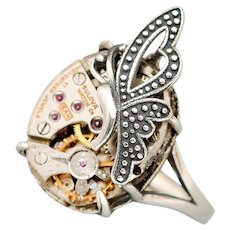 Sterling Silver Butterfly Ring, Steampunk Ring, Sterling Silver Ring, Unique Ring, Steampunk Jewelry