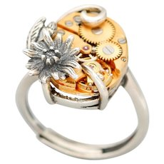 Sterling Silver Ring, Steampunk Ring, Daisy Ring, Silver Daisy Ring, Unique Ring