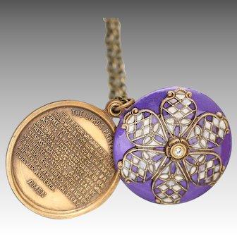 Lords Prayer Locket, Flower Necklace, Flower Locket, Religious Necklace, Confirmation, Baptism