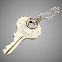 Vintage Key Necklace, Key Pendant, Lion Necklace, Steampunk Necklace
