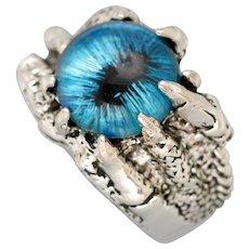 Evil Eye Ring, Eyeball Ring, Mens Silver Ring, Claw Ring, Dragon Claw, Dragon Eye Ring