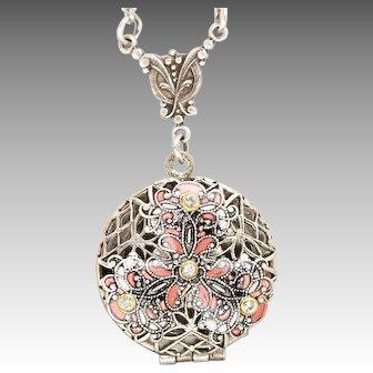 Peach Flower Locket, Compass Locket, Working Compass Necklace, Picture Locket, Photo Locket, Silver Locket Necklace, Flower Necklace