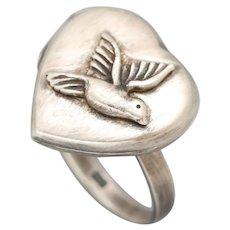Silver Locket Ring, Heart Locket, Sterling Silver Ring, Bird Ring