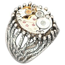 Steampunk Ring, Sterling Silver Ring, Men's Ring, Unisex Ring, Steampunk Jewelry, Vintage Watch Movement
