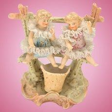 German Bisque Doll, Dresden Lace Figurine, Vintage Miniature Dresden Lace Dolls