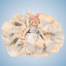German Half Doll, Jointed Bisque Doll, Vintage Half Doll, Marked