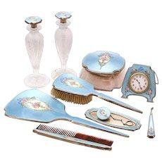 Antique / Vintage Thomae Sterling Silver Enamel Dresser Set Vanity Set 10 Piece Nice RARE